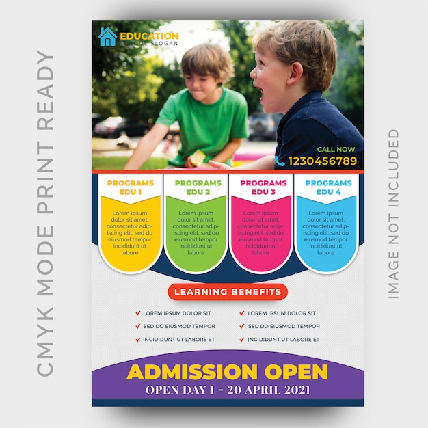 Istruzione, back to shool flyer design template Psd Premium