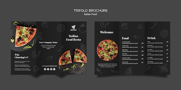Italiaans eten brochure kaart sjabloonontwerp Gratis Psd