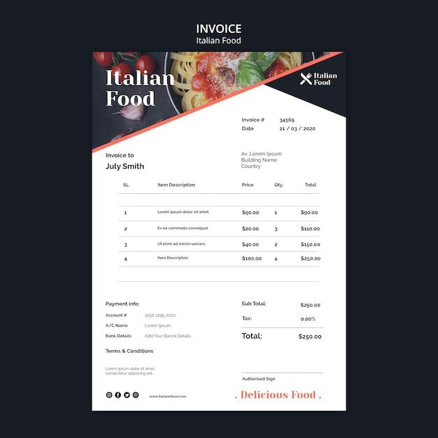 Italiaans eten concept factuursjabloon Gratis Psd