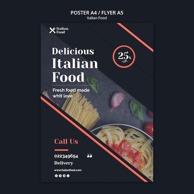 Italiaans eten concept flyer sjabloon Gratis Psd