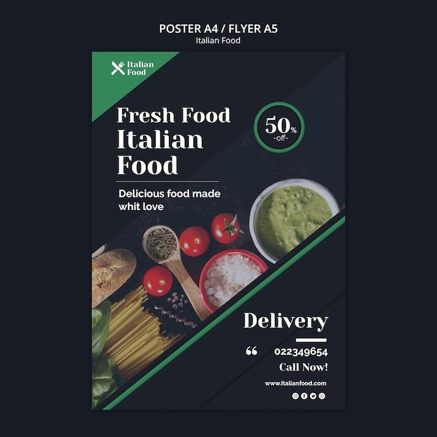 Italiaans eten concept poster sjabloon Gratis Psd