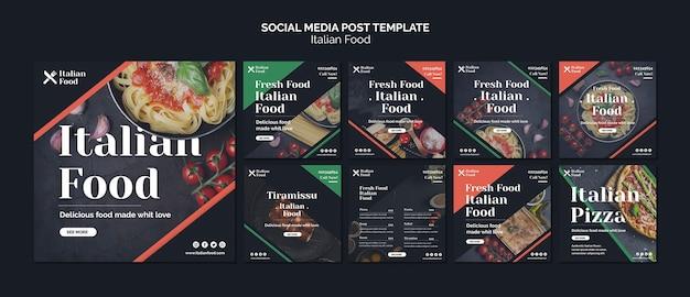 Italiaans eten concept social media post sjabloon Gratis Psd