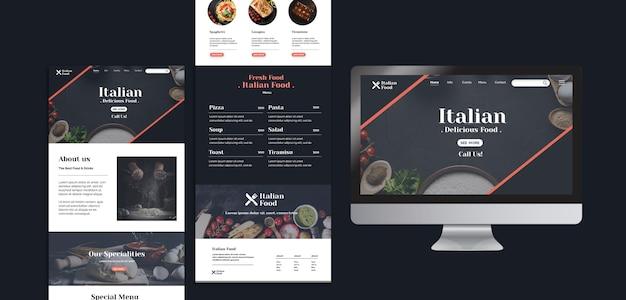 Italiaans eten concept websjabloon Gratis Psd