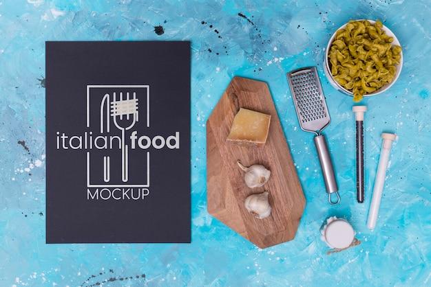 Italiaans eten mock-up plat lag Gratis Psd