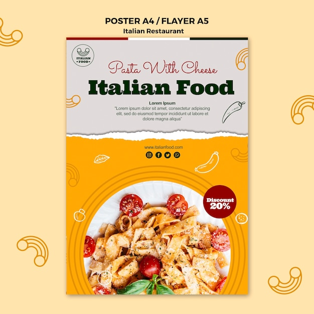 Italiaans eten poster met promotie Gratis Psd