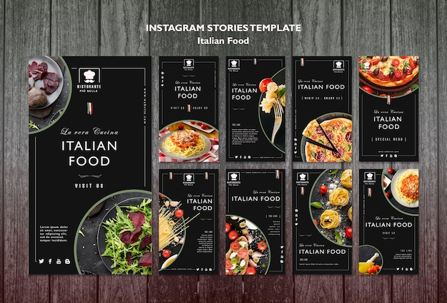 Italiaans eten social media post Gratis Psd