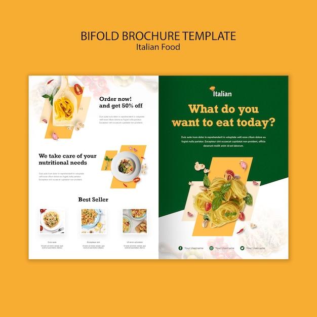 Italiaans eten tweevoudige brochure sjabloon Gratis Psd