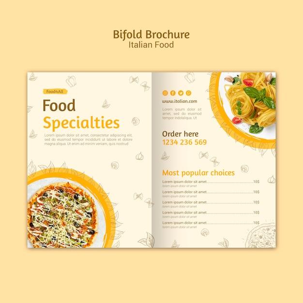 Italiaans eten tweevoudige brochure Premium Psd