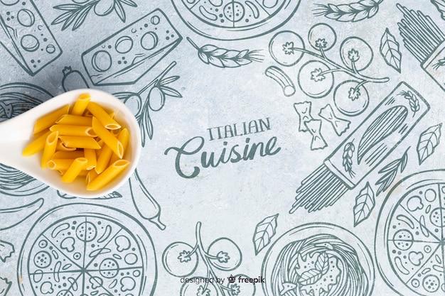 Italiaans keukenbehang met deegwaren Gratis Psd