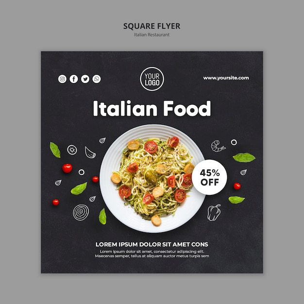 Italiaans restaurant advertentie vierkante sjabloon folder Gratis Psd
