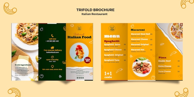Italiaans restaurant driebladige brochure Gratis Psd