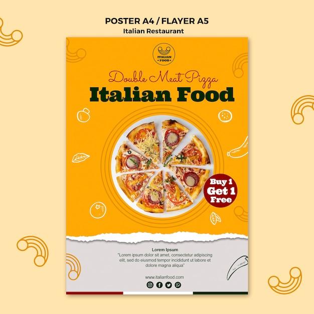 Italiaans restaurant poster met aanbieding Gratis Psd