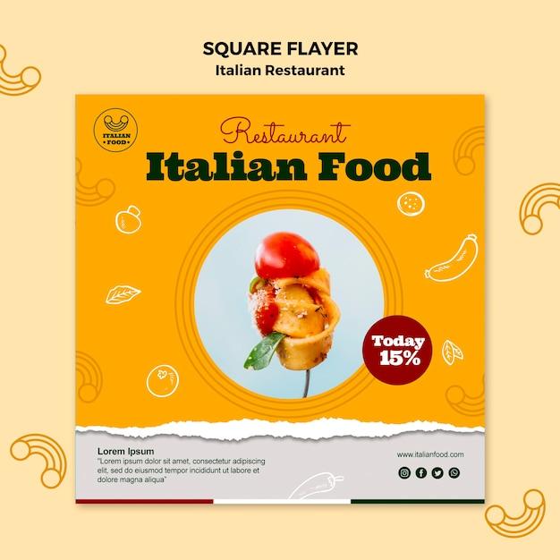 Italiaans restaurant vierkante flyer met korting Gratis Psd