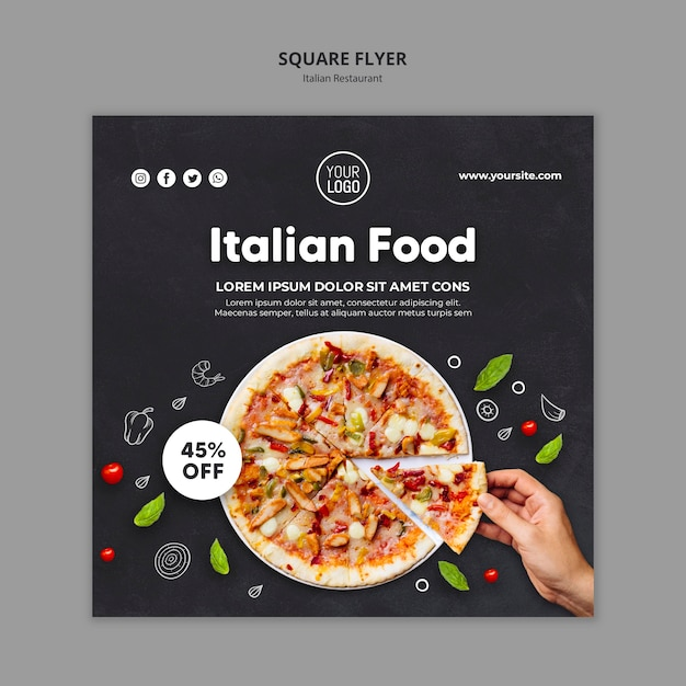 Italiaans restaurant vierkante flyer-sjabloon Gratis Psd