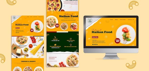 Italiaans restaurant website ontwerpsjabloon Gratis Psd