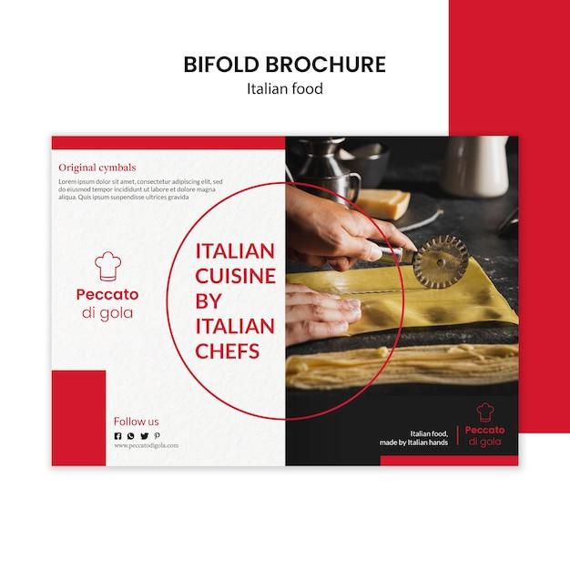 Italiaanse keuken tweevoudige brochure Gratis Psd
