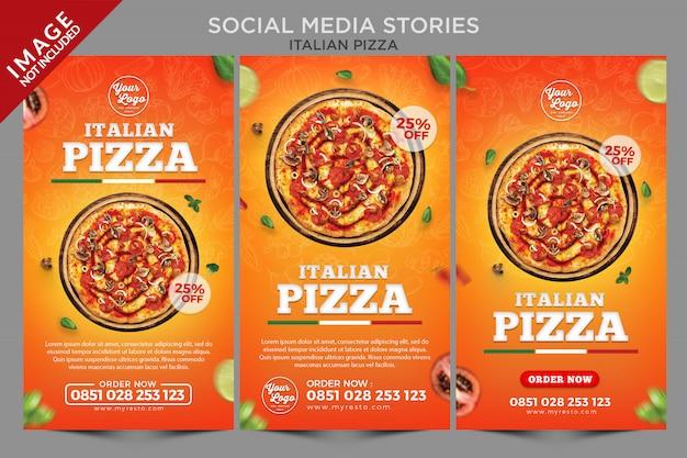 Italiaanse pizza sociale media verhalen serie sjabloon Premium Psd