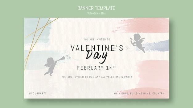Jaarlijkse valentijnsdag partij uitnodiging met engelen Gratis Psd