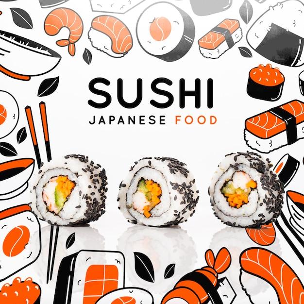 Japanse keuken in restaurant met sushi Gratis Psd
