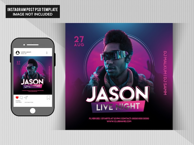 Jason live party flyer Premium Psd