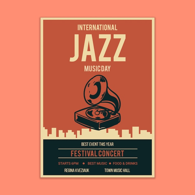 Jazz muziek poster mockup Gratis Psd