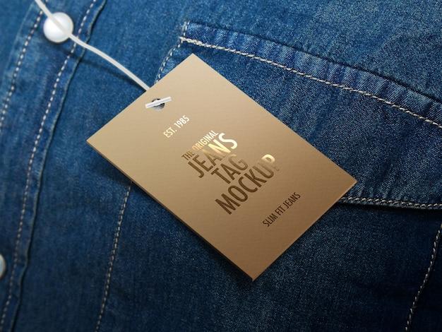 Jeans tag o etichetta mockup Psd Premium