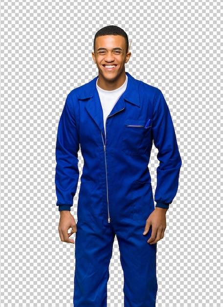 Jonge afro amerikaanse werknemer gelukkig en mens die glimlacht Premium Psd