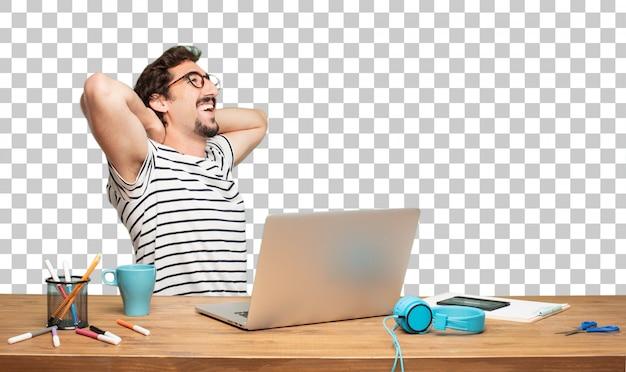 Jonge, bebaarde man grafisch ontwerper. tevredenheidsuitdrukking Premium Psd