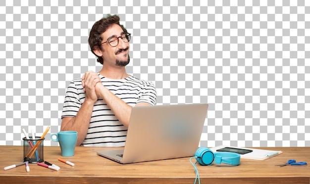 Jonge, bebaarde man grafisch ontwerper. triomf teken concept Premium Psd