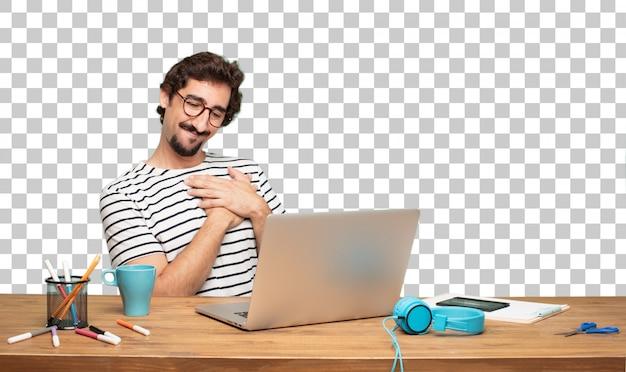 Jonge, bebaarde man grafisch ontwerper. . verliefd concept Premium Psd