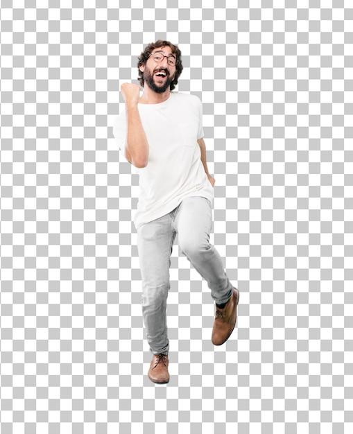 Jonge, bebaarde zakenman blazer dansen expressie dragen Premium Psd