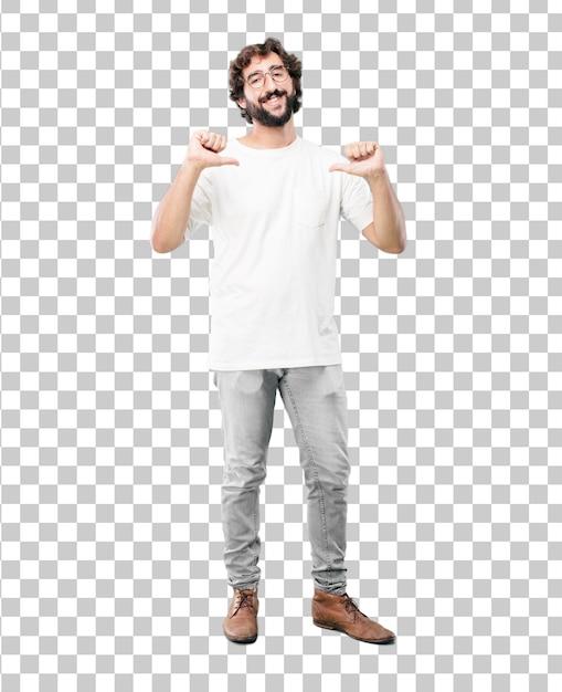 Jonge, bebaarde zakenman blazer dragen. trots of succesuitdrukking Premium Psd