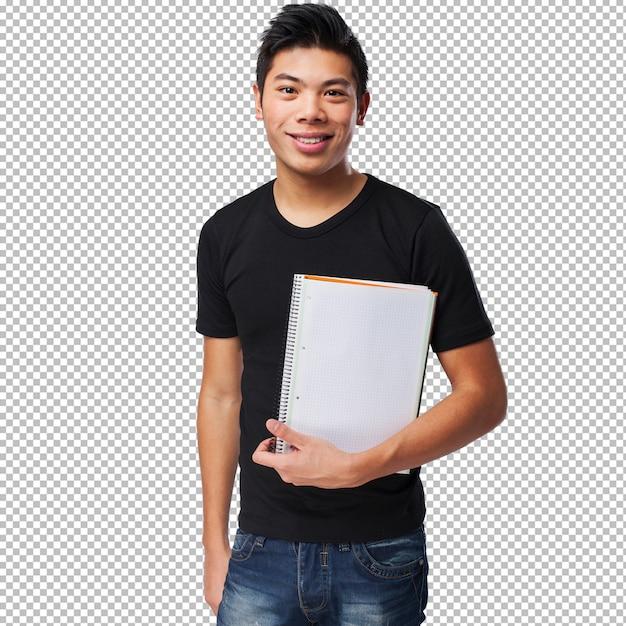 Jonge chinese mens die zijn notitieboekje houdt Premium Psd