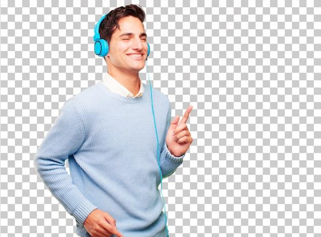Jonge knappe gebruinde man luisteren muziek met een koptelefoon Premium Psd