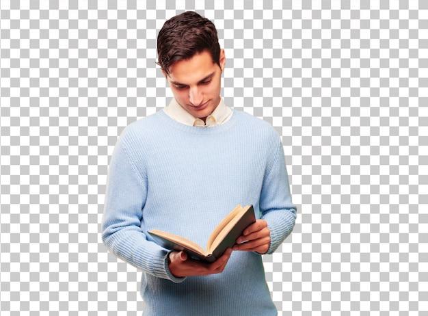 Jonge knappe gebruinde man met een boek Premium Psd