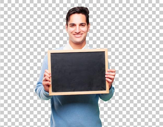 Jonge knappe gebruinde man met een bordje Premium Psd