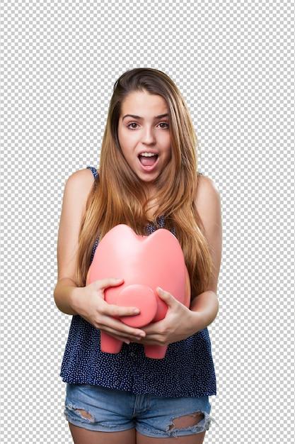 Jonge leuke vrouw met een groot spaarvarken Premium Psd