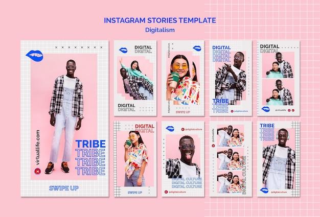 Jonge man en vrouw digitale cultuur instagramverhalen Gratis Psd