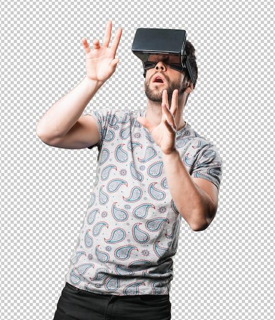 Jonge man met behulp van virtual reality Premium Psd