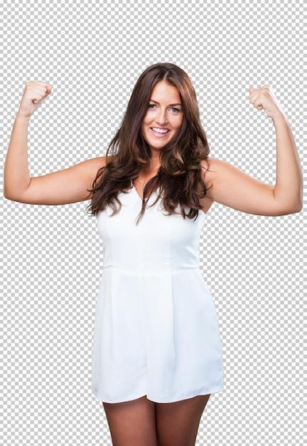 Jonge mooie vrouw die een sterk gebaar doet Premium Psd