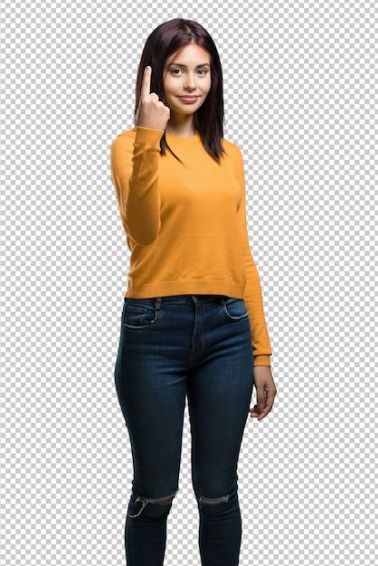 Jonge mooie vrouw die nummer één, symbool van het tellen, concept wiskunde tonen, zeker en vrolijk Premium Psd
