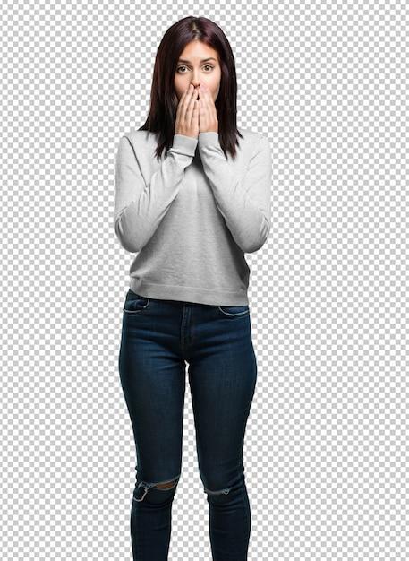 Jonge mooie vrouw erg bang en bang, wanhopig op zoek naar iets, huilt van lijden en open ogen, concept van waanzin Premium Psd