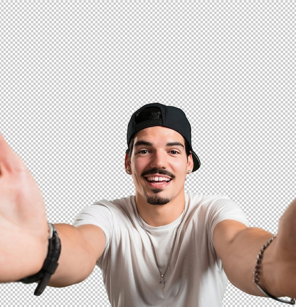 Jonge rapper man glimlachend en gelukkig Premium Psd