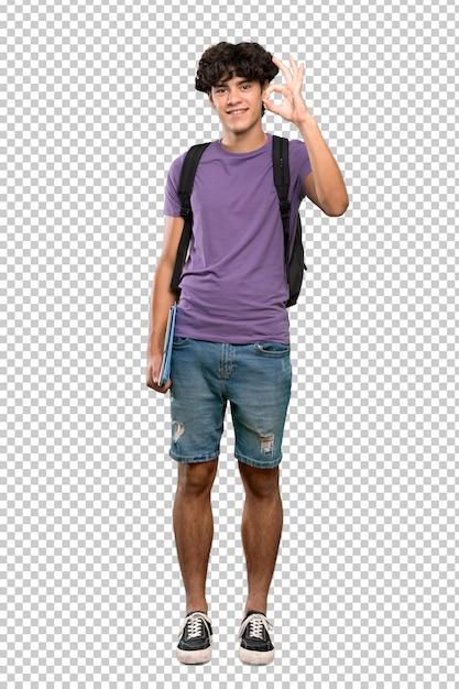Jonge studentenmens die ok teken met vingers tonen Premium Psd