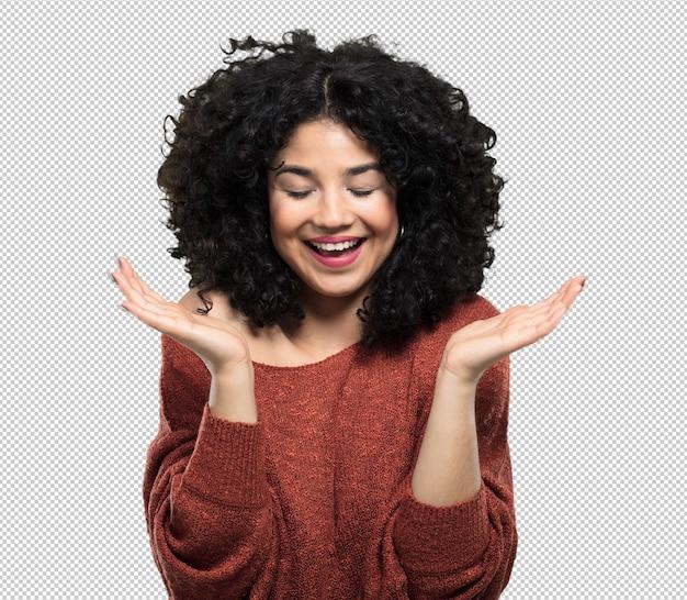 Jonge vrouw blij en lachen Premium Psd