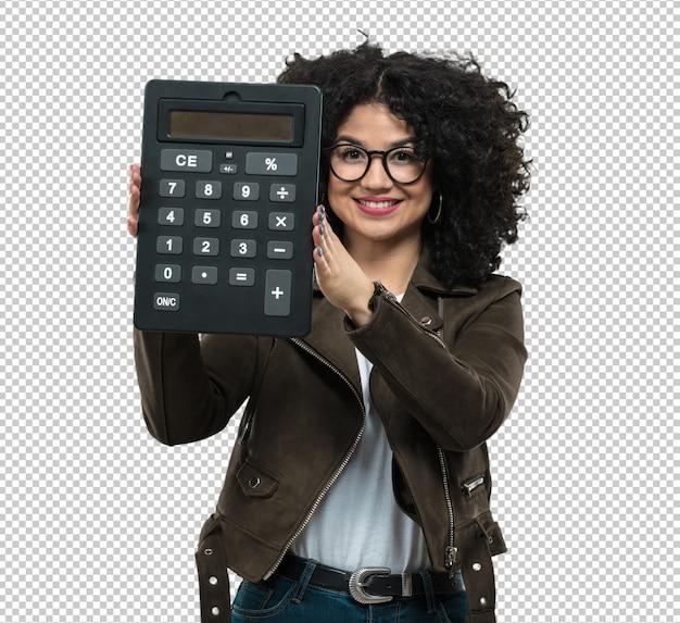 Jonge vrouw die een calculator houdt Premium Psd