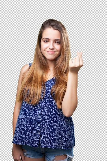 Jonge vrouw die een rijk gebaar doet Premium Psd