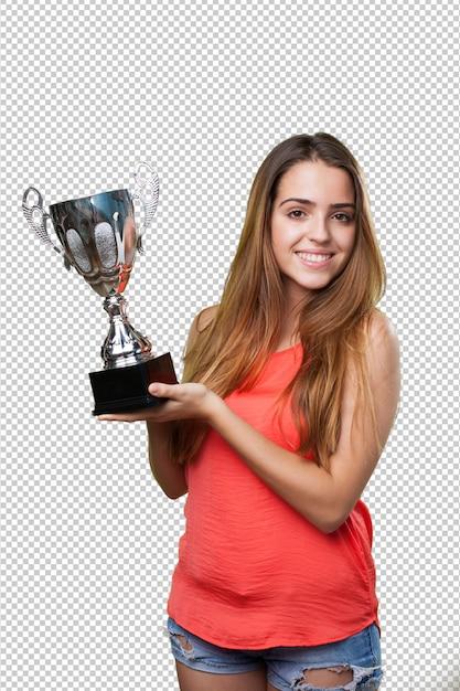 Jonge vrouw die een trofee op een wit houdt Premium Psd