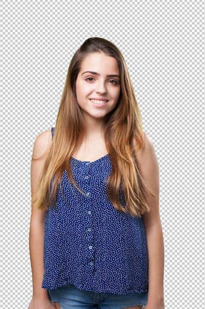 Jonge vrouw die over wit glimlacht Premium Psd
