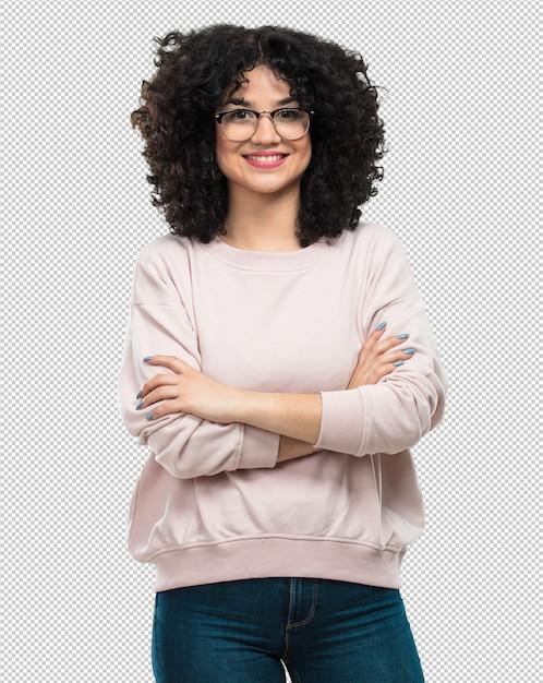 Jonge vrouw met haar gekruiste armen Premium Psd